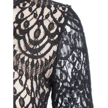 A Line Lace Long Sleeves Dress - BLACK M