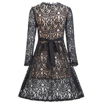 A Line Lace Long Sleeves Dress - BLACK L