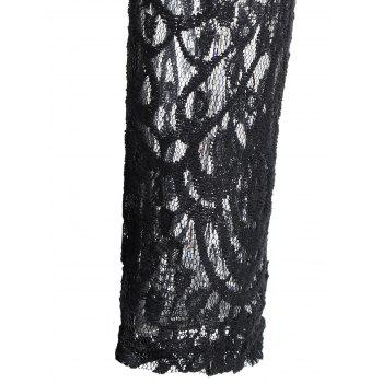 A Line Lace Long Sleeves Dress - BLACK XL
