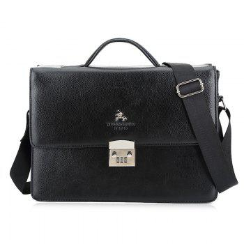 Textured Leather Metal Embellished Briefcase