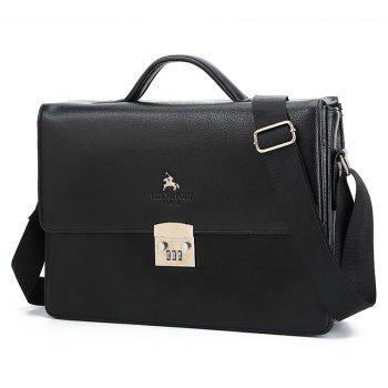 Textured Leather Metal Embellished Briefcase - BLACK