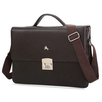 Textured Leather Metal Embellished Briefcase - BROWN BROWN