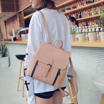 Double Zippers Buckle Strap Backpack - PINK