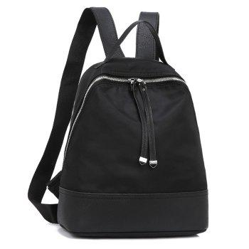 Nylon Zippers Faux Leather Insert Backpack - Noir