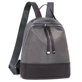 Nylon Zippers Faux Leather Insert Backpack -  GRAY