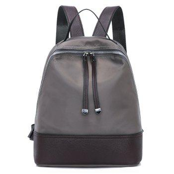 Nylon Zippers Faux Leather Insert Backpack - GRAY GRAY