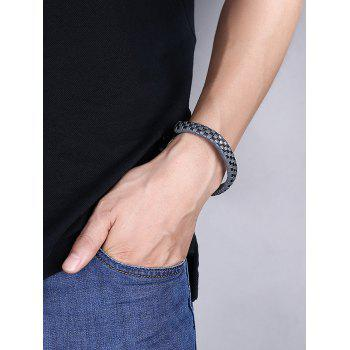 Cool Faux Leather Bracelet -  GRAY