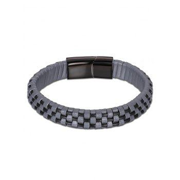 Cool Faux Leather Bracelet - GRAY GRAY