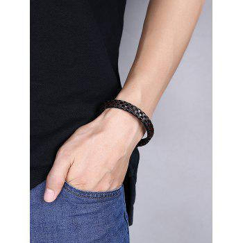 Cool Faux Leather Bracelet -  BROWN