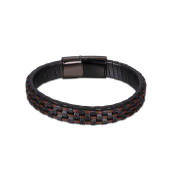 Cool Faux Leather Bracelet - BROWN BROWN