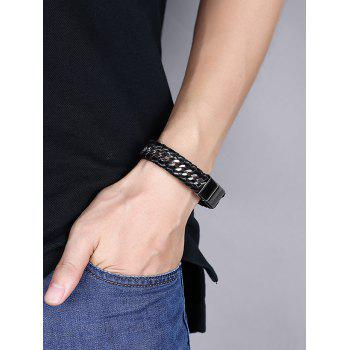 Faux Leather Braid Cool Bracelet -  BLACK