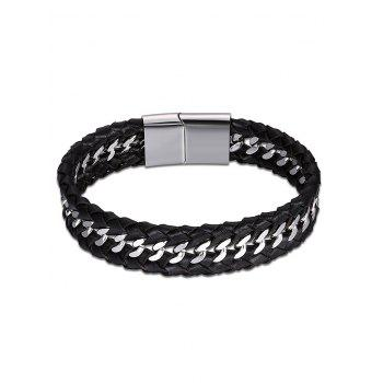 Faux Leather Braid Cool Bracelet - BLACK BLACK