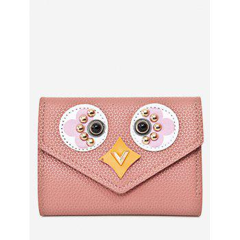 Envelope Textured Leather Studded Small Wallet - PINK PINK