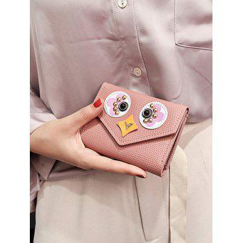 Envelope Textured Leather Studded Small Wallet -  PINK