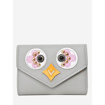 Envelope Textured Leather Studded Small Wallet - GRAY GRAY