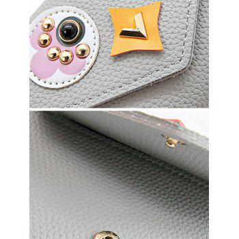 Envelope Textured Leather Studded Small Wallet - GRAY