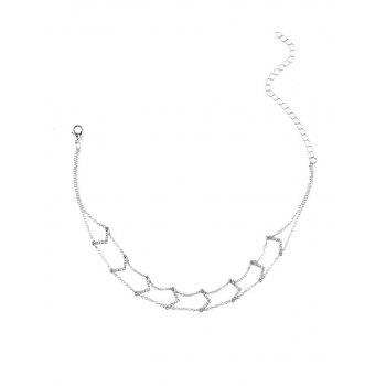 3PCS strass Star V Collarbone Colliers - Argent