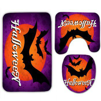 Halloween Bat Flannel 3PCS Set de toilette - Pourpre