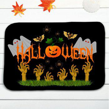 Halloween Ghost Pumpkin 3PCS Bath Toilet Rugs Set - BLACK