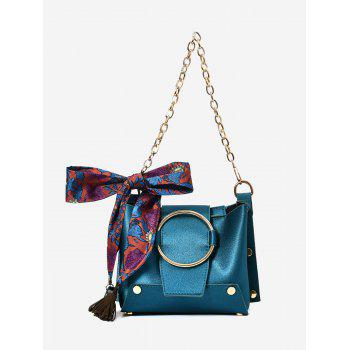 Metal Ring Scarf Shoulder Bag - BLUE BLUE