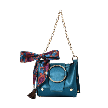 Metal Ring Scarf Shoulder Bag -  BLUE