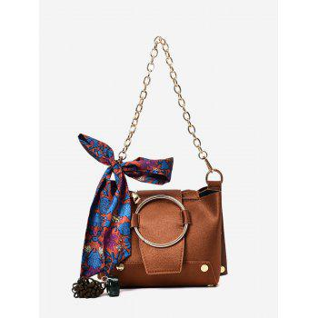 Metal Ring Scarf Shoulder Bag - BROWN BROWN