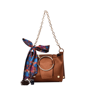 Metal Ring Scarf Shoulder Bag -  BROWN