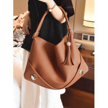 PU Leather Tassel Zipper Shoulder Bag - BROWN