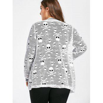 Plus Size Skull Openwork Collarless Jacket - WHITE 5XL