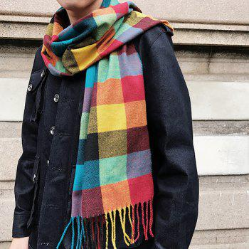 Fringed Cashmere-like Acrylic Yarns Plaid Scarf