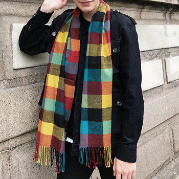 Fringed Cashmere-like Acrylic Yarns Plaid Scarf -  COLORFUL