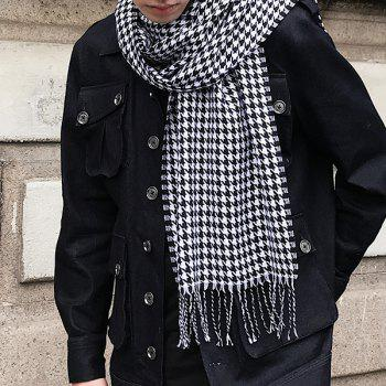 Houndstooth Print Fringed Wrap Scarf