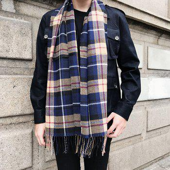 Cashmere-like Acrylic Yarns Plaid Printed Scarf - DEEP BLUE DEEP BLUE
