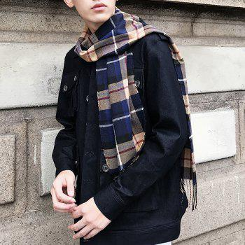 Cashmere-like Acrylic Yarns Plaid Printed Scarf - DEEP BLUE