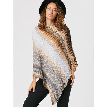 Tassel Asymmetric Knit Cape - Kaki ONE SIZE