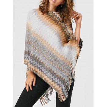 Tassel Asymmetric Knit Cape