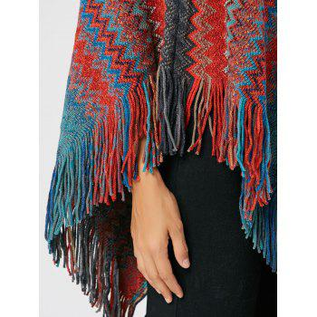 Tassel Asymmetric Knit Cape - RED RED