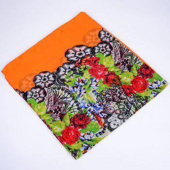 Flower and Lace Printed Voile Wrap Scarf -  ORANGE