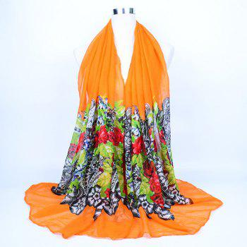 Flower and Lace Printed Voile Wrap Scarf - ORANGE ORANGE