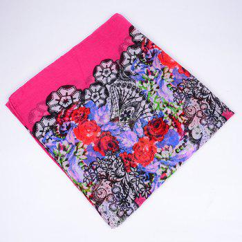 Flower and Lace Printed Voile Wrap Scarf - TUTTI FRUTTI