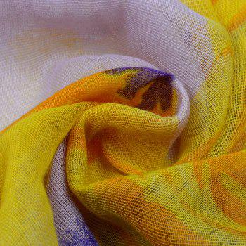 Flower Printed Color Block Voile Wrap Scarf - YELLOW ORANGE