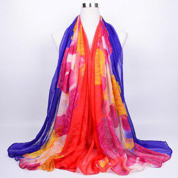 Flower Printed Color Block Voile Wrap Scarf - RED BLUE RED BLUE
