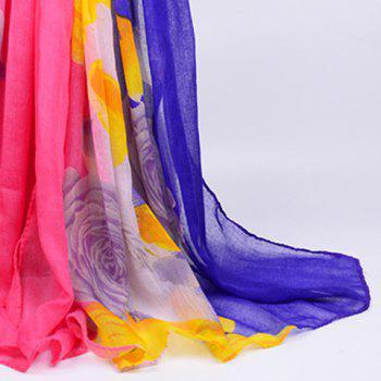 Flower Printed Color Block Voile Wrap Scarf -  BLUE/PINK