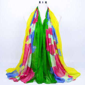 Flower Printed Color Block Voile Wrap Scarf - GREEN YELLOW GREEN YELLOW