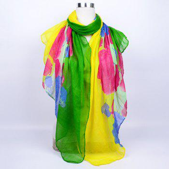 Flower Printed Color Block Voile Wrap Scarf - GREEN YELLOW