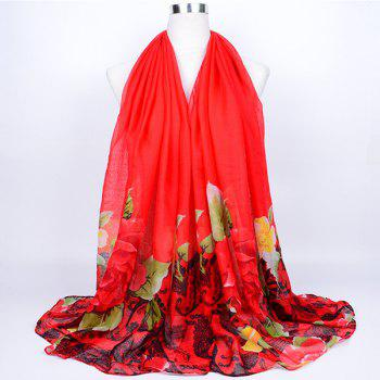 Flower Leaf Printed Voile Wrap Scarf - RED RED