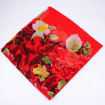 Flower Leaf Printed Voile Wrap Scarf -  RED