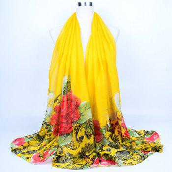 Flower Leaf Printed Voile Wrap Scarf - YELLOW YELLOW