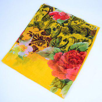 Flower Leaf Printed Voile Wrap Scarf -  YELLOW