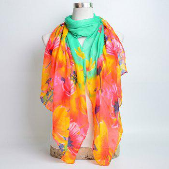 Flower Painting Printed Voile Wrap Scarf -  MINT
